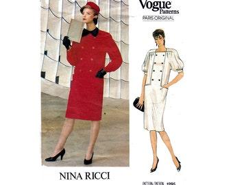 80s NINA RICCI Coatdress Pattern Vogue Paris Original Button Front Dress Sewing Pattern Size 14 Bust 36 inches