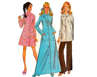 60s Womens Retro Maxi Robe & Pants Pattern McCall's 2173 Dressing Gown Jacket Pants Vintage Sewing Pattern Size 10 Bust 32 1/2 inches