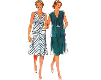 80s Zip Front Dress Cardigan Pattern Style 3377 Bias or straight cut Dress Vintage Sewing Pattern Size 14 Bust 36 inch UNCUT Factory Folds