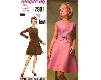 60s Fit and Flare Dress Pattern Simplicity 7981 Designer Vintage Sewing Pattern Size 12 Bust 34 Inches UNCUT Factory Folded