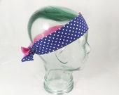 Polka Dot Head Wrap Silver Hair Tie Blue Headband Pink Reversible Washable Hair Accessory Hair Bow gift woman girl fashion