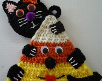 Free Shipping Halloween Candy Corn Cat Crochet Potholder Wall Decor