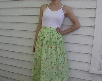 40s Green Print Skirt Floral Striped Side Button Full Vintage XS S