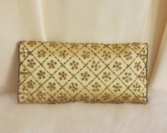 Vintage 50s 60s Mid Century Floral  Beaded Gold Clutch Purse