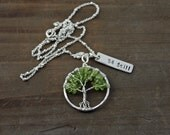 Peridot Small Tree of Life Necklace, Be Still, Green Tree Necklace, August Birthstone, Peridot Necklace