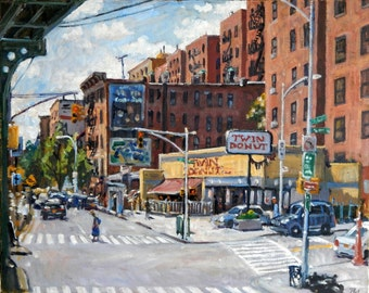 Twin Donut, Inwood NYC. Realist New York City Oil Painting on Canvas, 16x20 Plein Air Impressionist Landscape, Signed Original Fine Art