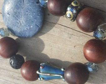 Comfort and Joy Bracelet / Natural Elements Bracelet / Handmade Artisan Beads