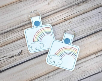 Rainbow Keychain, Bag Tag, Cloud, Custom Made, Vinyl, with Snap
