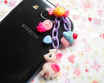 Cute Phone Charm, Kawaii Phone Charm, Dust Plug, Phone Charm, Cute Dust Plug, iPhone Charm, iPod Charm, Android, Pony, Kawaii Kei, Fairy Kei