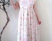 vintage 90's semi sheer floaty floral babydoll pastel midi dress / lace collar drawstring waist / grunge festival boho hippie romantic