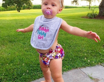 IN STOCK Daddy's Fishing Girl Baby Bib, Ready to Ship