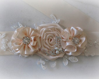 Light Blush Bridal Sash, Pale Blush Flower Bridal Sash, Wedding Belt, Crystal Bridal Sash - BLAIR