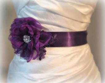 Dark Purple Bridal Sash, Eggplant Purple Flower Bridal Belt with Lace, Bridesmaid, Aubergine - NAPA