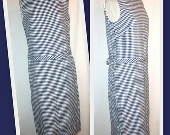 1960s Lanz Navy/White Houndstooth Vintage Shift Dress