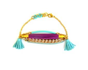 Womens Leather Bracelet, Tassel Bracelet, Friendship Bracelet, Gold Bracelet, Mint Bracelet, Stacking Bracelet, Gift for Her, Tassel Jewelry