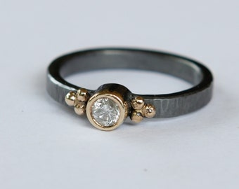 18k And Oxidized Sterling .25ct Round Cut Natural E SI1 Conflict Free Diamond Ring SZ7