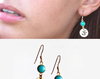 Turquoise and gold dangle earrings - charm drop earrings - Gift for Her - Hindi Jewelry