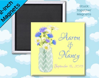 Summer Wedding Favors - Mason Jar and Daisy Magnets - Set of Ten 2 Inch Square Magnets