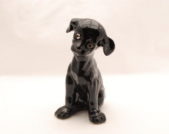 "Vintage 1940's Black Glossy Dog Figurine - Glass Eyes - Glazed Ceramic Puppy - 6"" Small Statue"