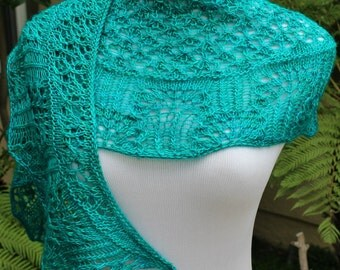 Pattern Only Off the Florida Keys Cresent Shaped Lace Shawlette or Scarf