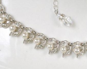Art Deco Pearl Necklace, Pave Rhinestone Ivory Pearl Bridal, 1940 Silver Leaf Link Statement Necklace Vintage Modern Choker Woodland Wedding
