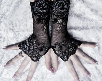 Apathy Long Lace Fingerless Gloves | Black Floral Scroll w/ Grey | Gothic Wedding Vampire Fetish Dark Burlesque Goth Bridal Noir Boudoir