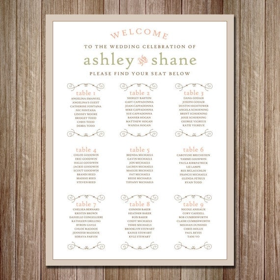 Rustic Wedding Seating Chart Ideas: Rustic Wedding Seating Chart Vertical Printable