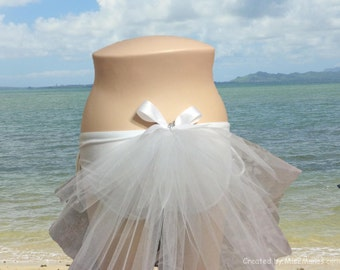 BACHELORETTE Bling Bikini Veil 12 inch Three Tiered Veil with White bow, Bridal Booty Veil clips to any swimsuit or skirt