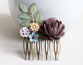 Dark Brown Rose, Latte, Lilac, Dusty Blue Flowers with Verdigris Patina Leaves Hair Comb. vintage style, bridesmaid wedding hair accessory