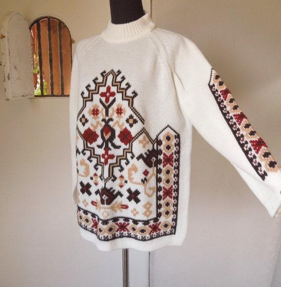 Vintage 70's Tribal Native Print Sweater, Cream, Brown and Rust, Geometric Navajo Aztec Pattern, Women's Size Medium