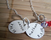 Family Necklace, Mom Necklace, Hand Stamped Two Charm Necklace in Sterling Silver with 2 Swarovski Crystal dangles