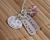 Family Necklace, mom necklace, Hand Stamped, Sterling Silver with birthstone crystal charms