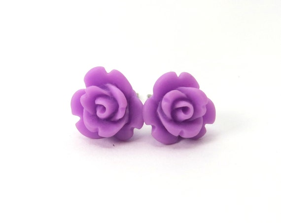 Orchid Rose Stud Earrings- Surgical Steel Post Earrings- 9mmBlack Friday Sale 20% Off