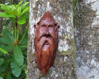 elf, hand carved wood spirit, living room art, wall decor, wood sprite, unique one-of-a-kind wall art wood sculpture, gnome wood carving
