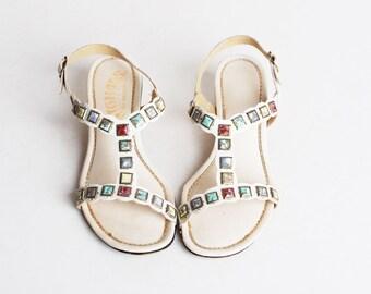 Vintage 60s 70s MOD STUDDED Sandals / Roman Sandals, 7 37