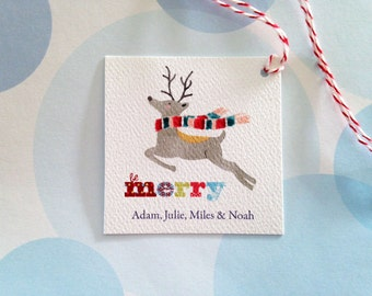 Christmas Gift Tags, Personalized Christmas Tags, Custom Holiday Tags, Reindeer Tags, Set of 24
