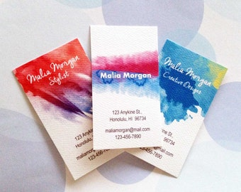 Business Cards, Custom Business Cards, Watercolor - Set of 50