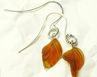 Earthy Amber Glass Leaf Dangle Earrings, Silver, Sinuate
