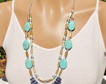 Long Double Layer Beaded Indie Statement Necklace, Blue, Turuoise, Stone, Indie Summer