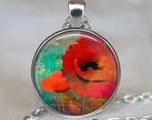 Poppy Collage pendant, poppy pendant, poppy necklace, poppy jewelry, poppy jewellery poppy keychain key chain