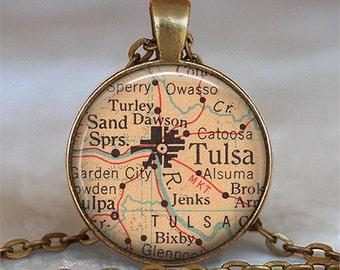 Tulsa, Oklahoma map pendant, Tulsa map necklace, Tulsa map pendant, Tulsa necklace Tulsa pendant keychain