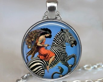 Zebra and Flapper pendant, Zebra jewelry, Flapper jewelry, Zebra necklace Zebra pendant Flapper pendant keychain key chain key fob