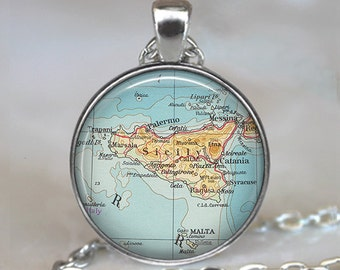 Sicily map pendant, Sicily pendant Sicily map necklace Sicily necklace map jewelry Sicily keychain map key chain key fob