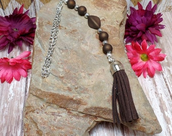 Dark Brown Tassel Rear View Mirror Charm - Car Charm