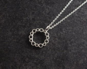 Lace tube pattern pendant sterling silver handmade small