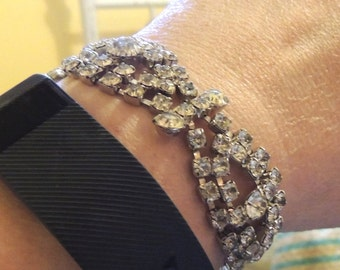 Huge Hollywood Rhinestone Vintage Bracelet Glamorous Wedding Vintage Jewelry
