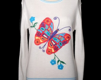 Embroidered THIN BUTTERFLY SHIRT Vintage 1970's Sweater Novelty Chenille Hippie