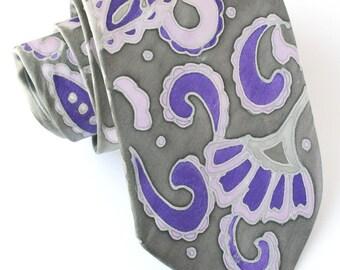 Lavender gray tie, paisley tie, purple silver tie