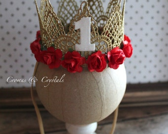 First Birthday lace crown