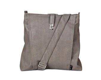 Backpack and Messenger bag Vegan gray grey, 2 IN 1, Laptop 13 backpack, multiple pockets, Vegan Shoulder Bag, Leah